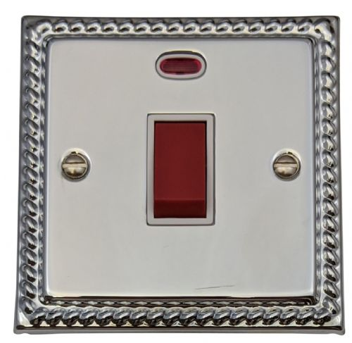 G&H MC46W Monarch Roped Polished Chrome 45 Amp DP Cooker Switch & Neon Single Plate